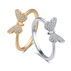 RINNTIN SR59 Fashion Ring Jewelry Genuine 925 Sterling Silver Rhodium&Gold Plated Cubic Zircon Women Cute Butterfly Rings