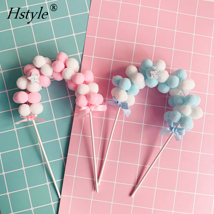 New Ins Baking <strong>Cake</strong> Decoration Topper Kids Birthday Plush Ball Arch Cupcake <strong>Accessories</strong> for Baby Shower <strong>Wedding</strong> Party PQ291
