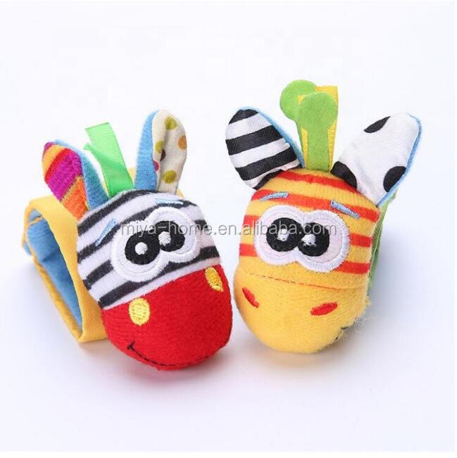 High Quality Baby Socks Rattle Toys / Kids Garden Bug Wrist Rattle and Foot Socks / Newborn Soft Multicolor Socks