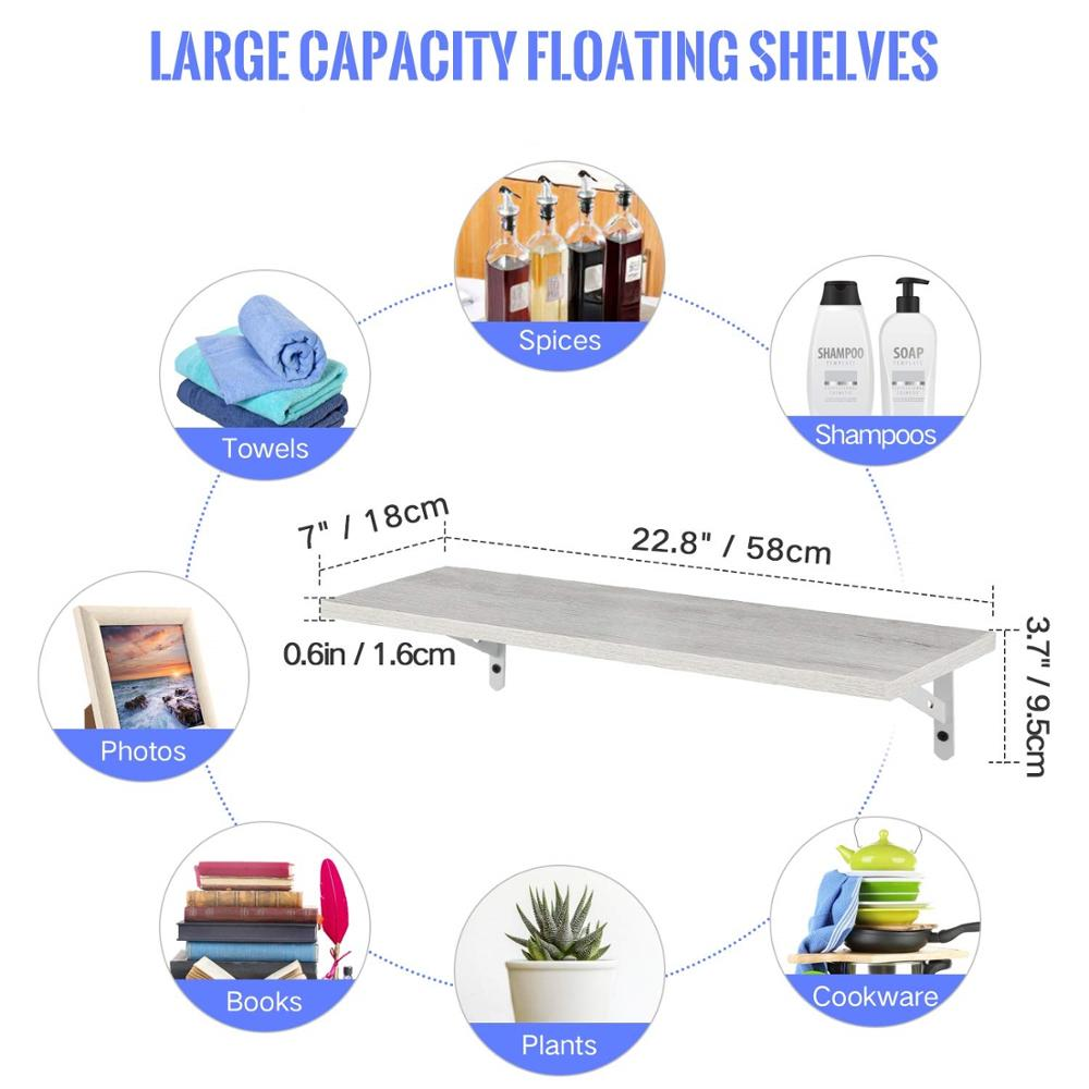 Set of 2 Wall Mounted White Floating Shelves display rack ledge shelf with bracket floating shelf
