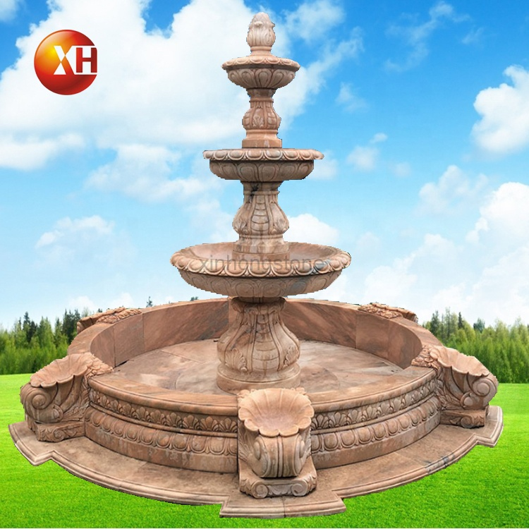 Modern European Design Marble Sunset Red Water Fountain Triple Water Bowls Fountains Transfer Water Ball For Outdoor Garden Park