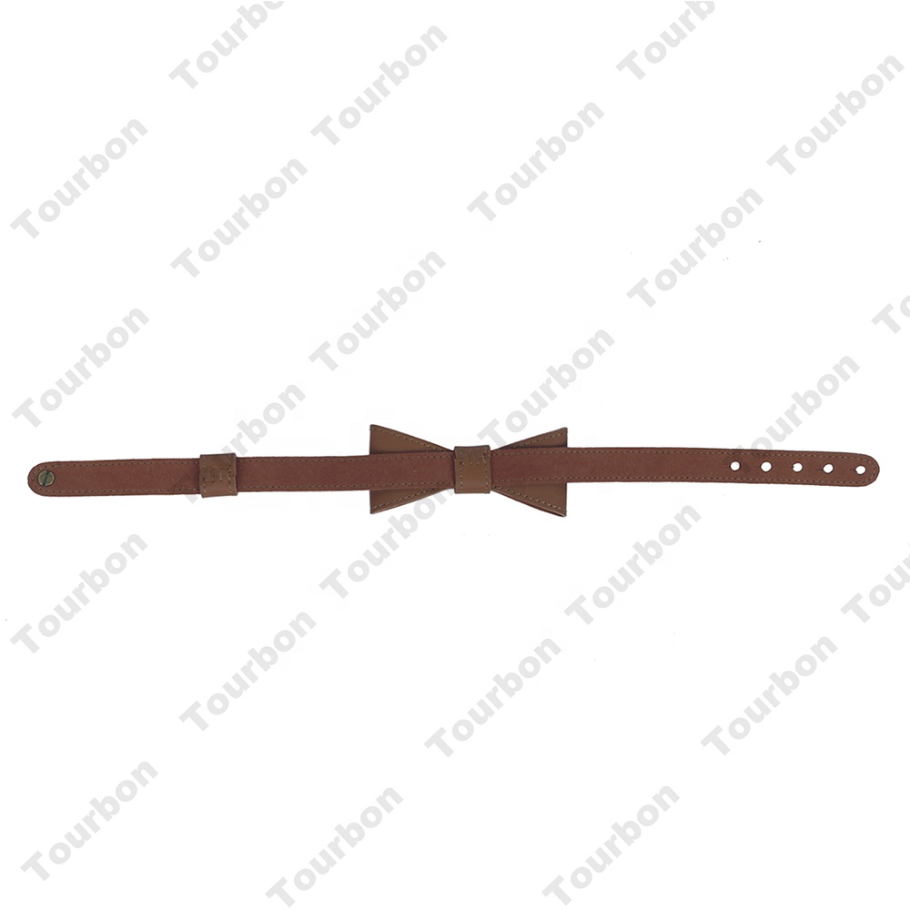 Hibo Vintage Leather Bow Tie For Wedding Party