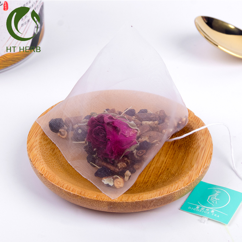 delicious blending Chinese herbal tea bags with black goji tea custom tea bag pyramid