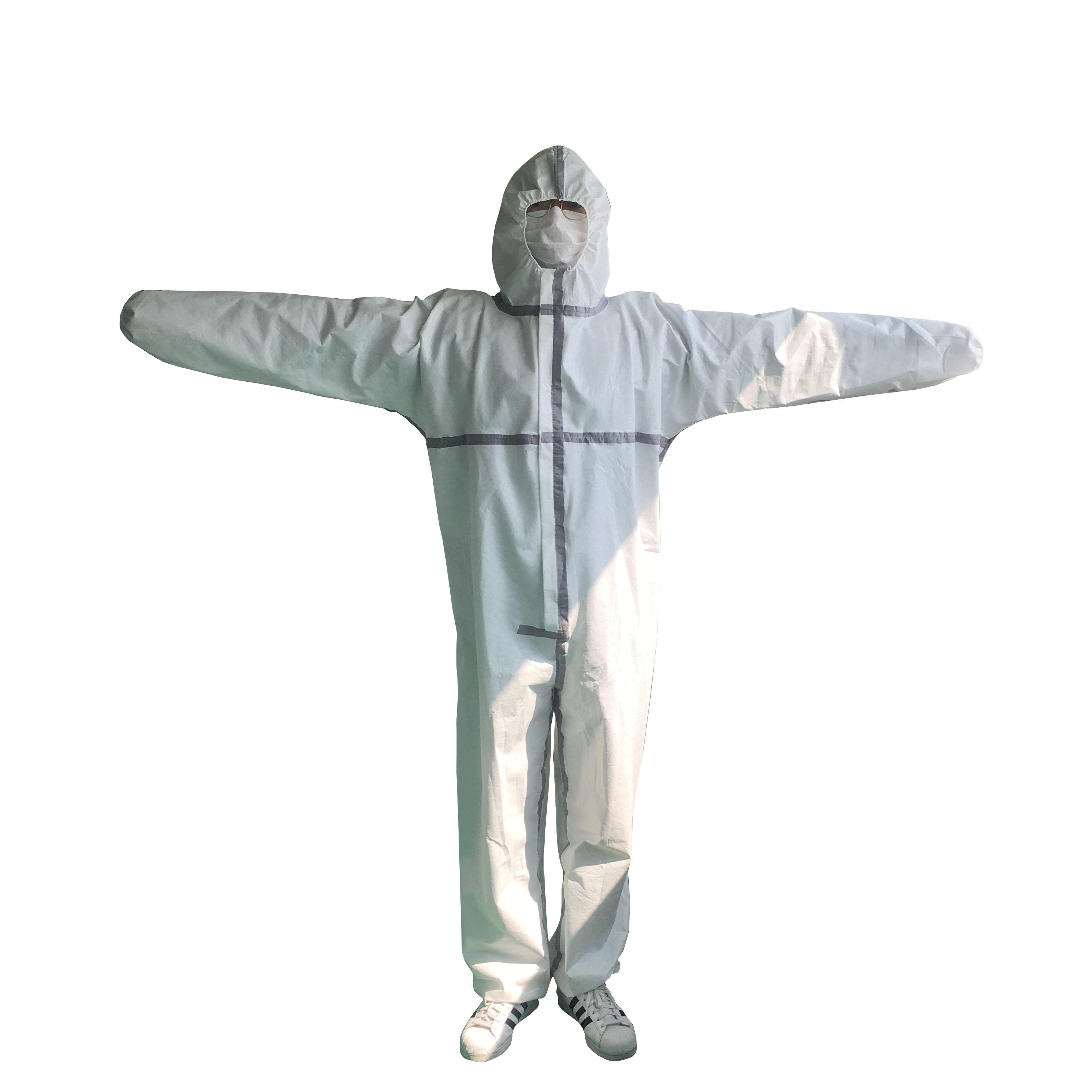 Disposable coverall hazmat suit 70GSM waterproof and anti-virus