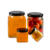 50ml-730ml high Quality  square honey jam glass jar/storage bottles  with  metal lid transparent chili sauce glass container