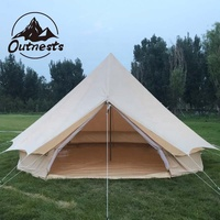 3m 4m 5m 6m Cotton Canvas Bell Tent With Awning/Tarp bell tent with tarp waterproof roof rainproof tarp shelter