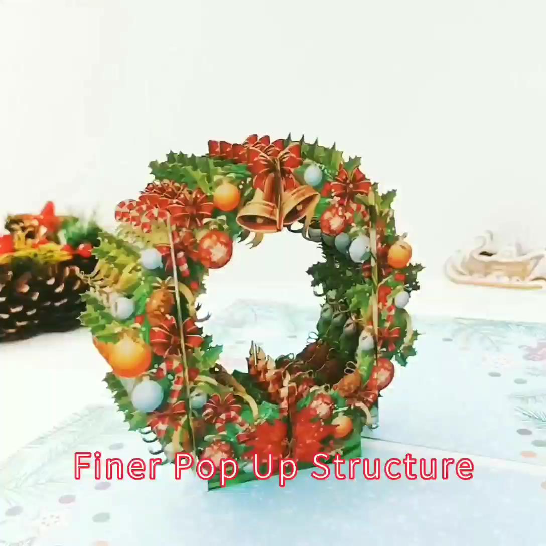 2020 Handmade Paper Craft 3d Pop Up Christmas Wreath Card