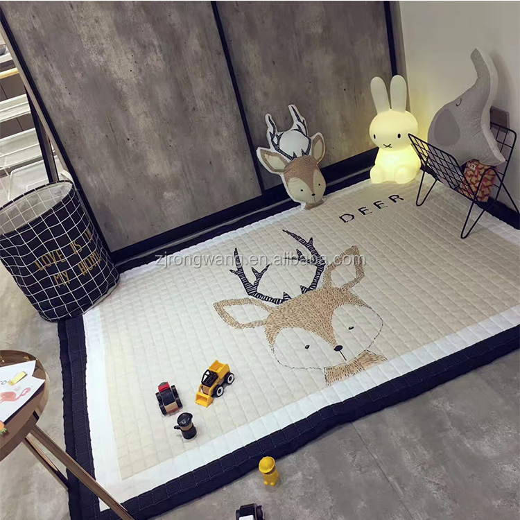 Nordic style kids cartoon cotton play floor mat baby crawling mat non-toxic baby carpet