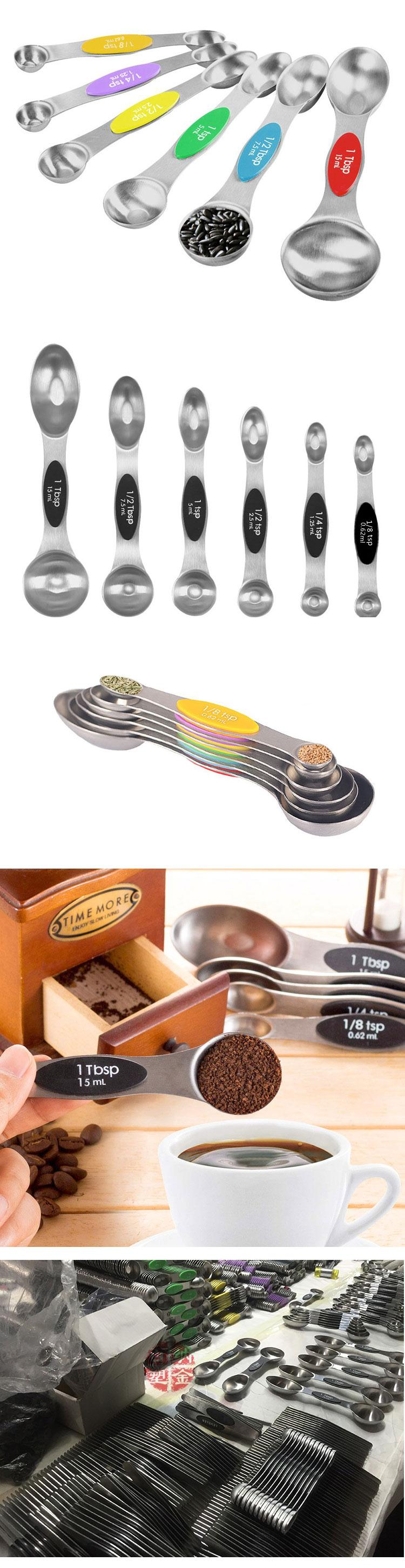 Custom 5 ml teaspoon long handle double sided two head stainless steel magnetic measuring spoons set