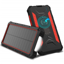 Private Label Dual USB Ponsel Charger Solar Power Bank dengan Lampu LED Portable Wireless Solar Charger