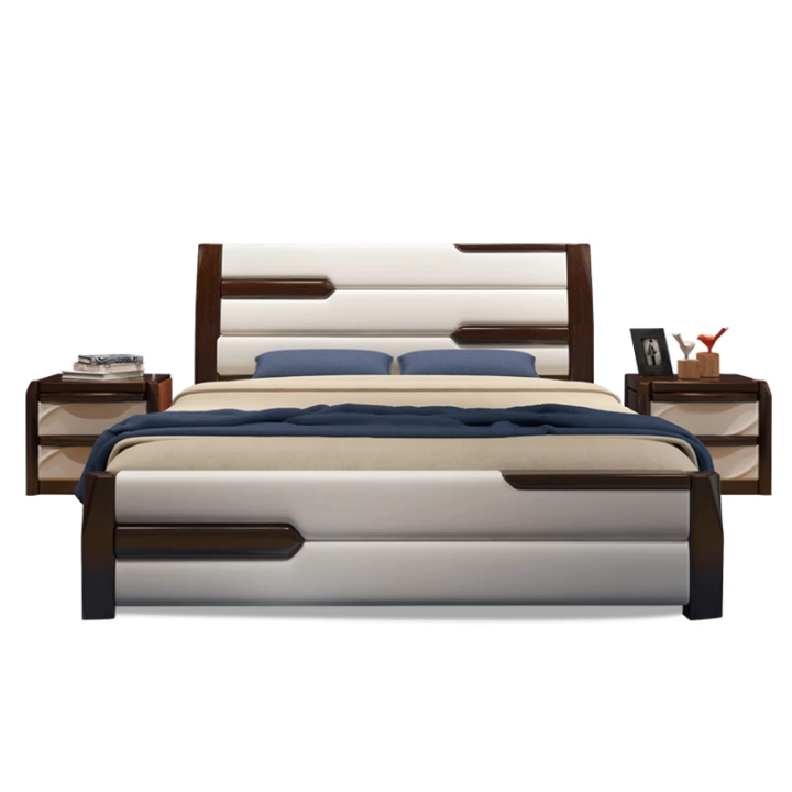 Comfortable new design 2019 best selling hote solid wooden carved double bed wooden storage bed