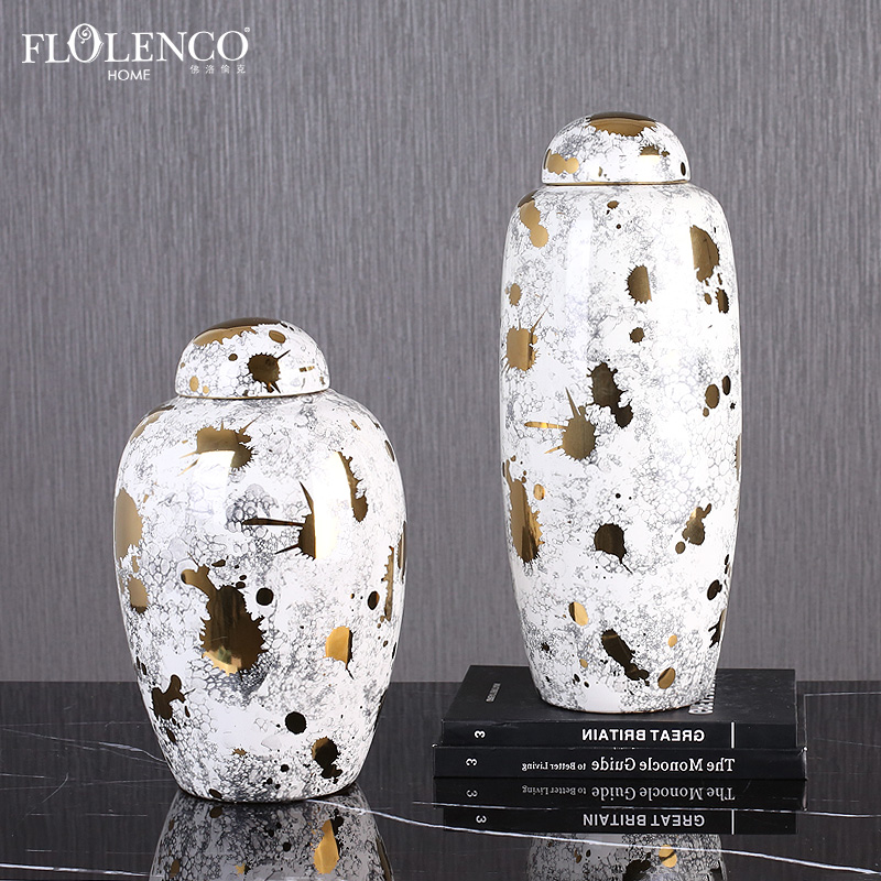 Premium Soft Home Decor Office Interior Luxurious Ceramic Living Room Ginger Vase Temple Jar With Lid Buy Nordic Luxury Home Decor Accessories Turkish Decorations Gold Decorative Ceramic Jars For Home Islamic Decorative