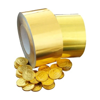 Factory custom gold coin chocolate aluminium wrapping foil 38micron
