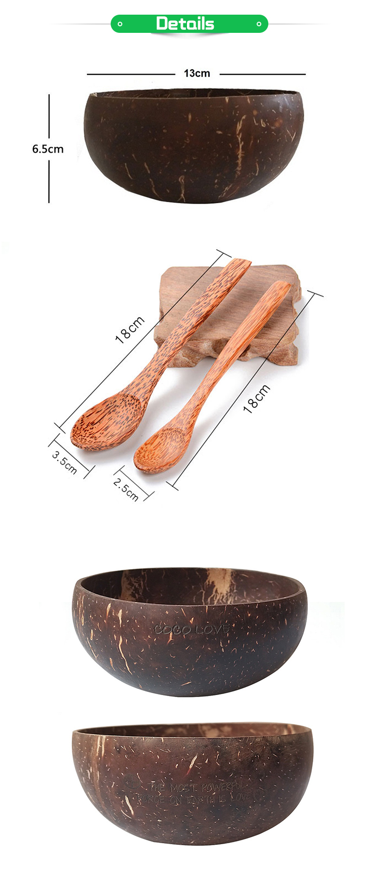 Hot Selling Logo Customized Natural Jumbo Coconut Bowls and Wood Spoon Sets / Baby Coconut Bowls