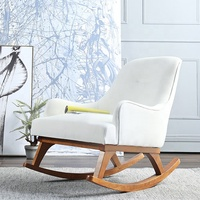 Nordic Modern Home Living room Furniture Fabric Garden Lounge chair Bedroom Leisure single chair Solid wood Rocking chair