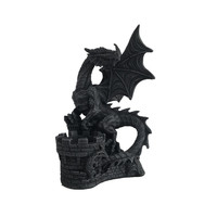 Resin fire dragon perching on castle Tea light candle holder statue