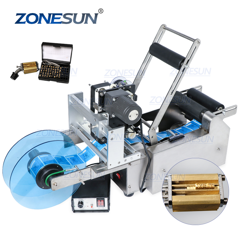 ZONESUN TB-YL50D Semi Automatic Label Applicator Medicine Round Bottle Labeling Machine With Date Printer Self Adhesive Labeler
