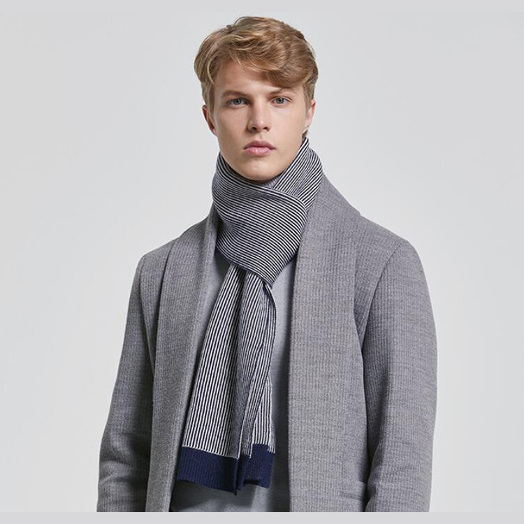Winter Stripe pattern <strong>merino</strong> <strong>wool</strong> men <strong>scarf</strong> for neck warmer