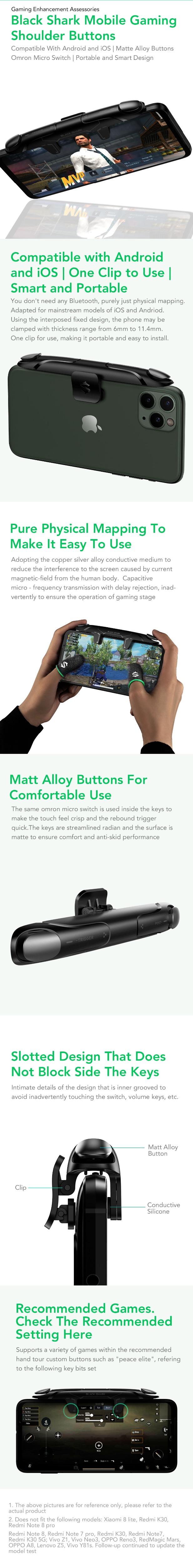 Black Shark Game Triggers Joystick Games Controller Shoulder Button Handle for iPhone Black Shark 3 / 3S / 3 Pro