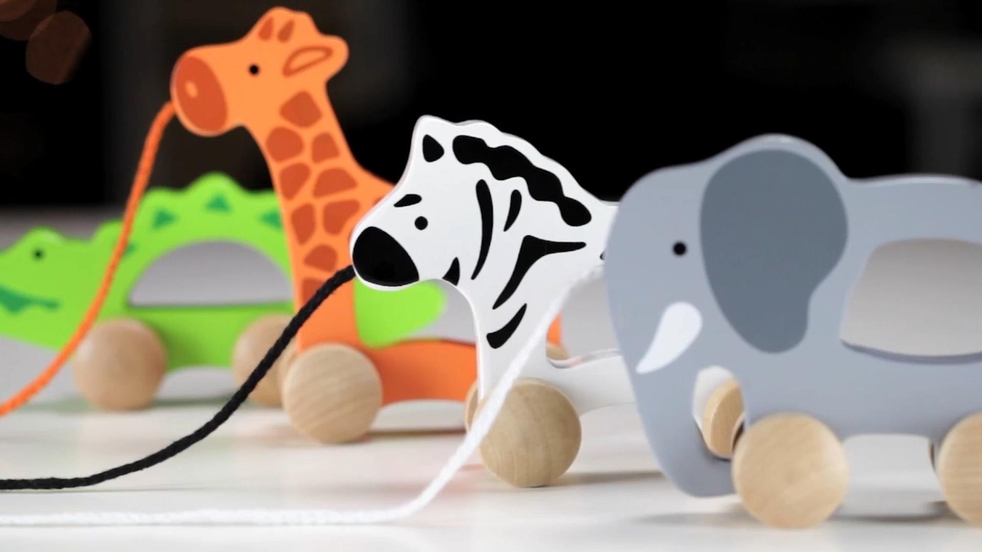 Nuovi bambini giocattoli educativi elefante in legno di apprendimento del bambino del camminatore