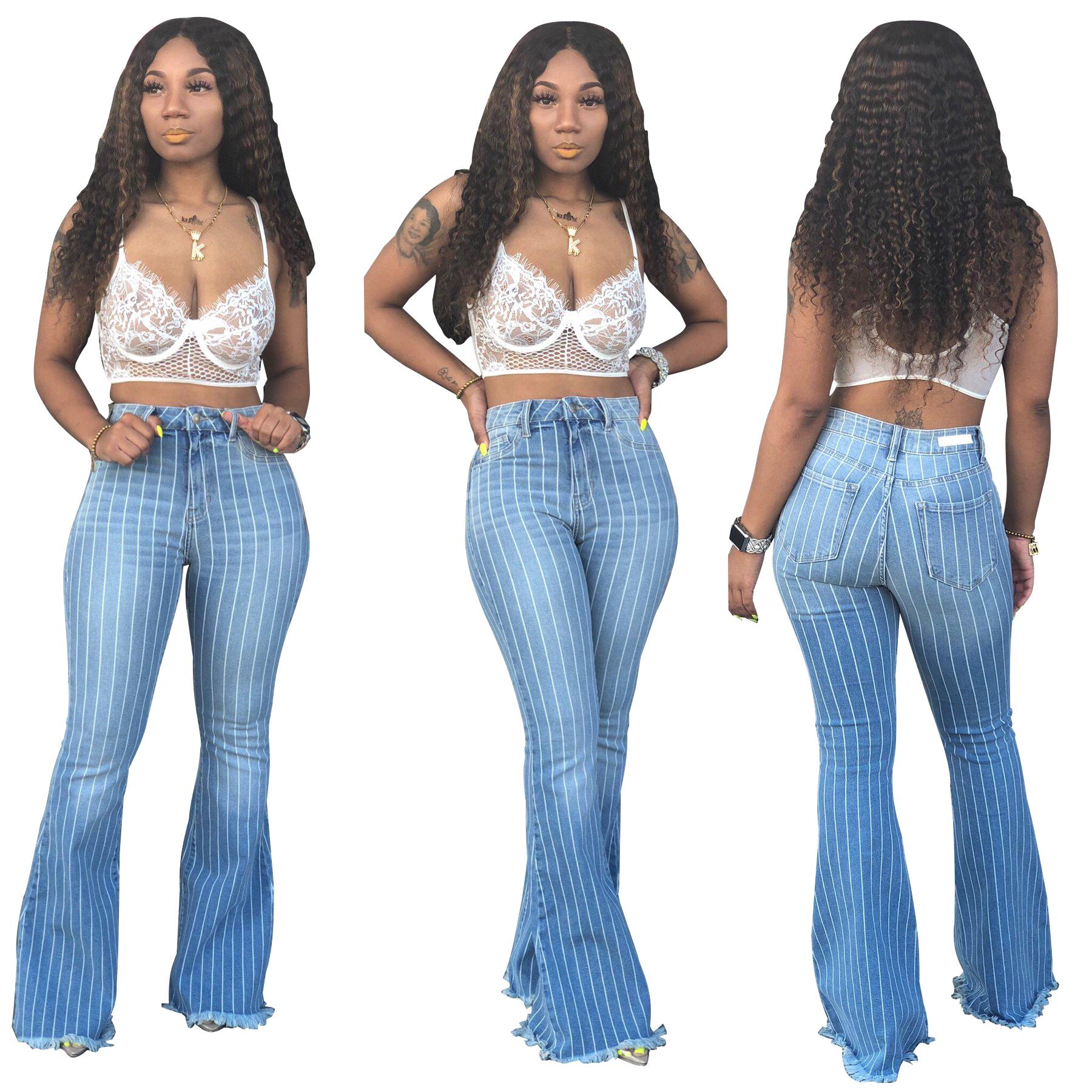 Pantalones Vaqueros Acampanados A Rayas Para Mujer L2311 Buy Pantalones Vaqueros A Rayas Pantalones De Jeans Para Mujer Pantalones Acampanados A Rayas Product On Alibaba Com