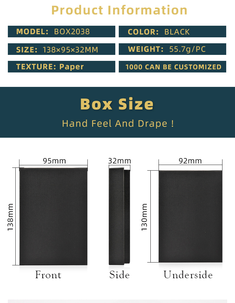 Factory Directly Sale Packaging Boxes for Notebook China Stationery Customized Logo Black Box Gift Case
