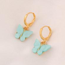 Оптовая продажа, богемное акриловое ожерелье конфетного цвета с подвеской в виде бабочки, эффектное ожерелье для женщин, ожерелье, ювелирны...(Китай)