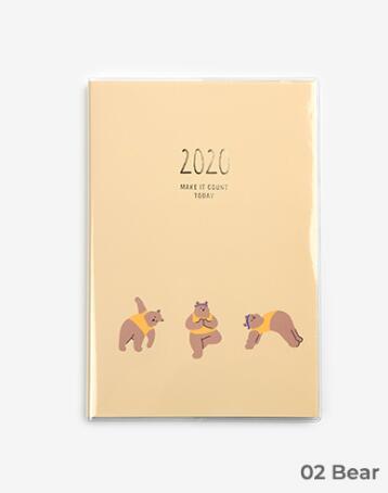 2020 милый ежемесячный недельный планировщик с животными из мультфильмов, Kawaii notebook 152 P, бесплатная доставка(Китай)