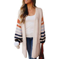 Women Autumn And Winter New Casual With Pockets Open Front Striped Sleeve Wholesale Cardigan