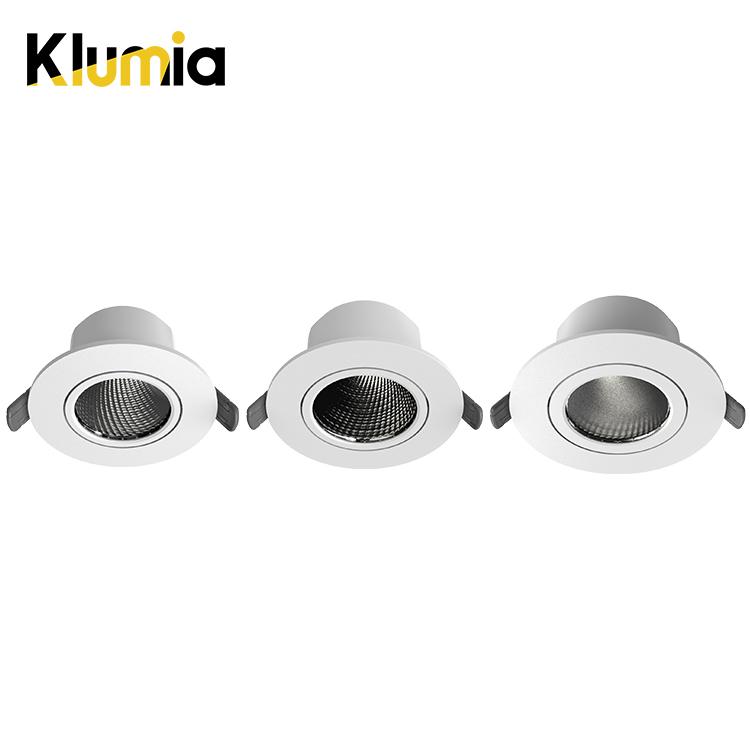 KLUMIA High Efficiency adjustable degrees 3att 6watt 9watt indoor living room recessed led spot light
