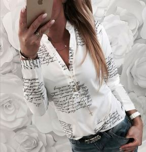 Women Fashion V Neck Long Sleeve Sexy Beach Blouse Shirts Casual Letters Printed Tops Slim Fit Shirts Plus Size T Shirt