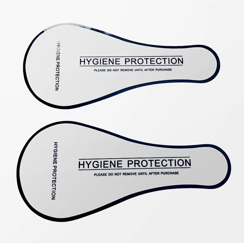 <strong>Custom</strong> eco-friendly transparent <strong>clear</strong> hygienic protection liner <strong>sticker</strong> for swimwear, transparent label <strong>stickers</strong>