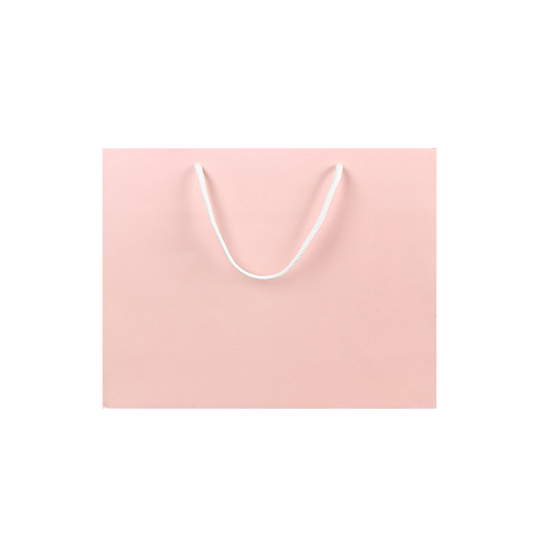 Wholesale white card  cute pink famous brand paper bag coated gift packaging garment bag custom logo handle