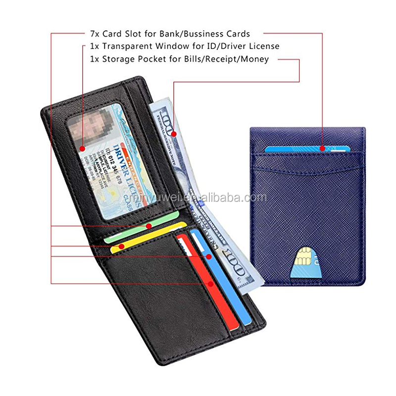 Bifold Navy blue  saffiano leather men wallet