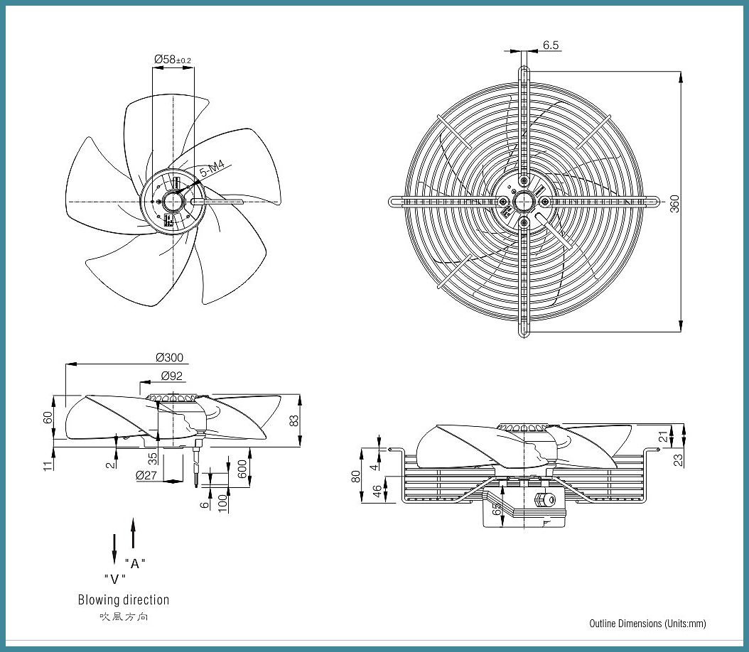 300mm 3 Phase External Rotor Exhaust Axial cooling Fan FJ4D-300.FG.V