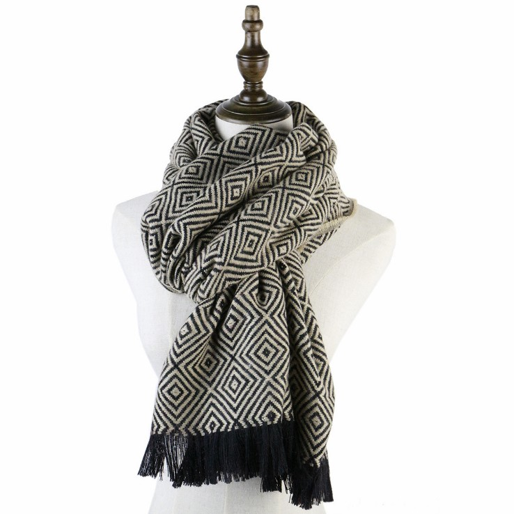 Diamond-shaped thick woven autumn and winter scarves for men and women
