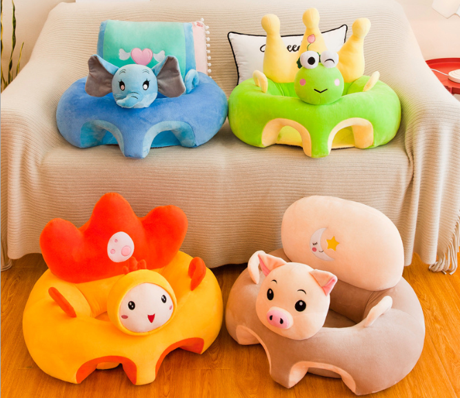 colorful custom made plush baby feed sofa with pig toy/ stuffed baby gift learn seat support child sofa/baby sitting chair sofa