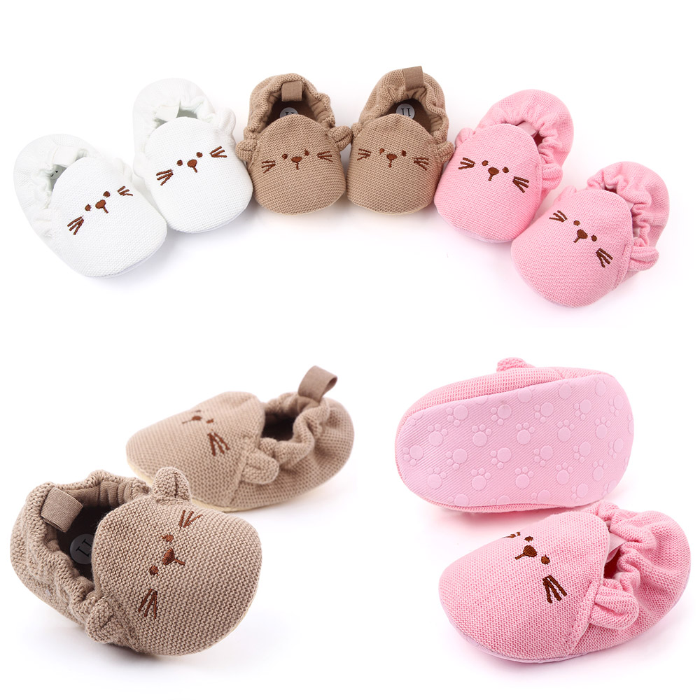 Cotton girl spring shoes wholesale cute cat print baby girl shoes knitted
