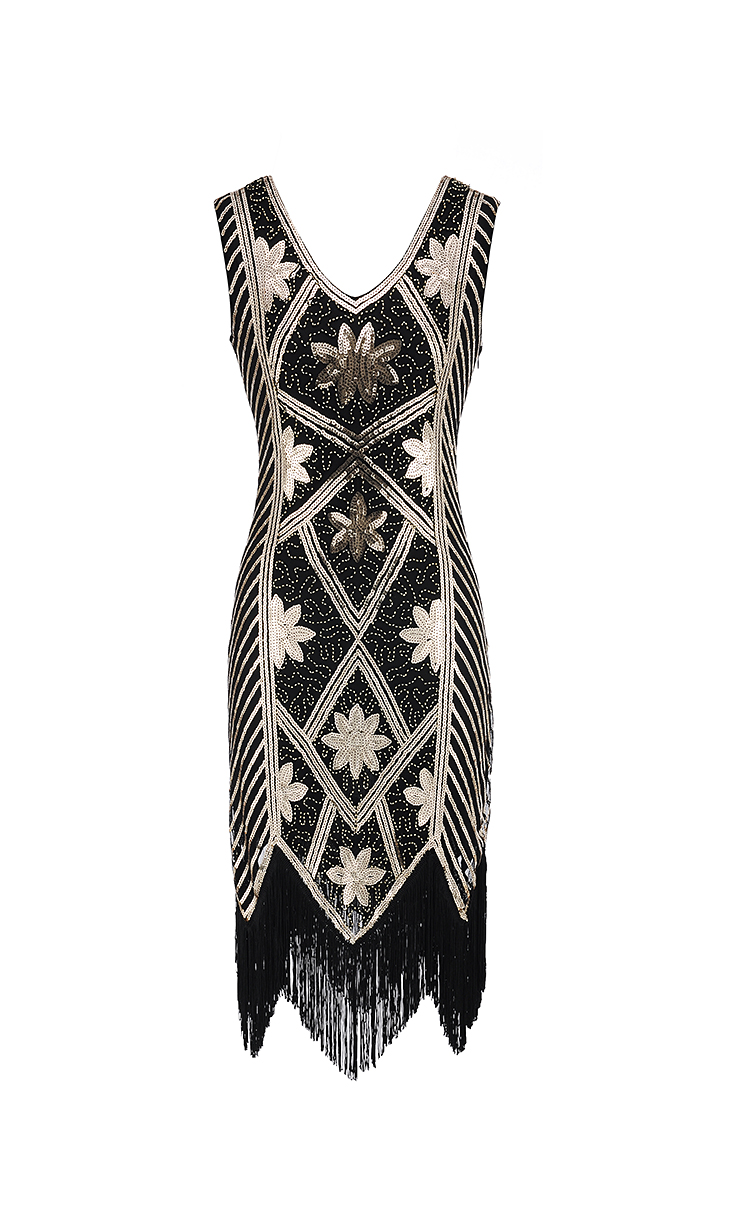 Ecoparty 1920s Sequined <strong>Inspired</strong> Beaded Gatsby Flapper Club <strong>Dress</strong> <strong>Plus</strong> <strong>Size</strong>