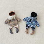 Winter infant retro plaid double layer plush thickened hooded sweater jumpsuit baby romper 3984