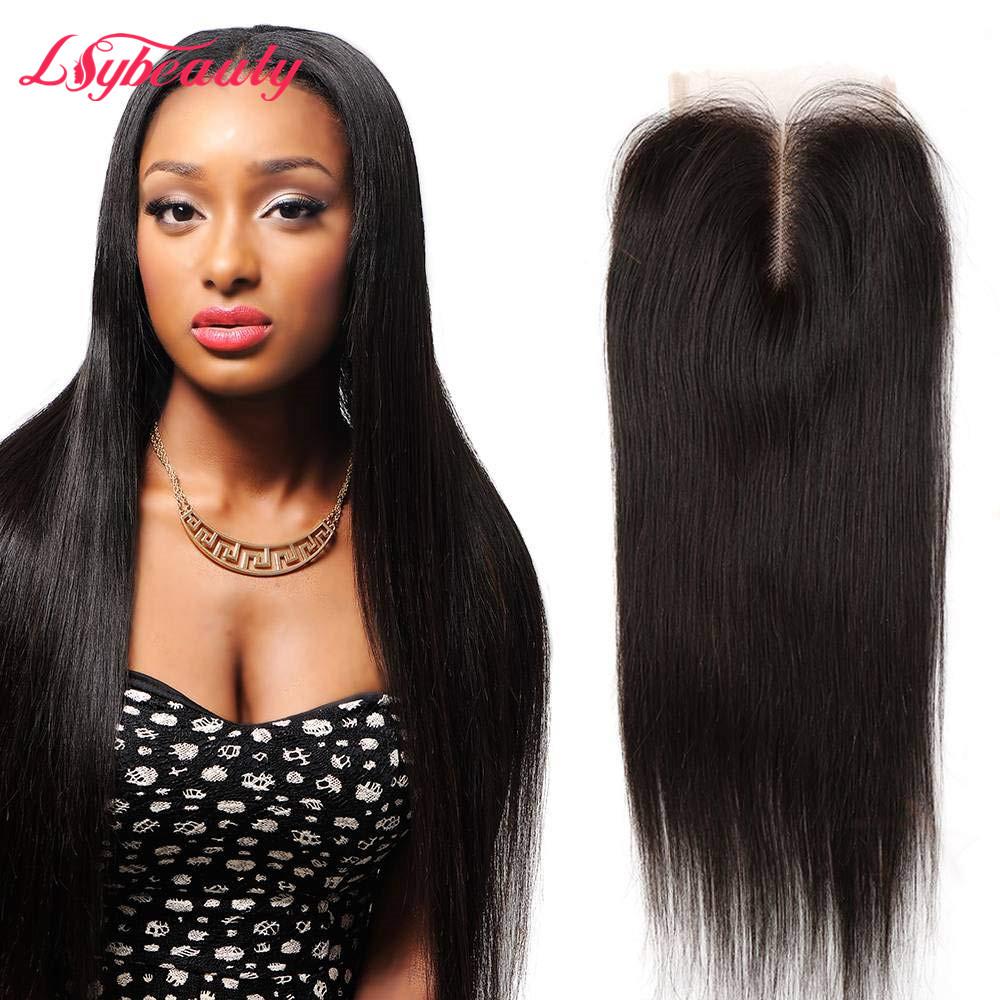 Lsy יופי גודל 4x4 טבעי מראש קטף ברזילאי ישר שיער טבעי תחרה סגירת אמצע חלק שיער טבעי תחרה למעלה סגר