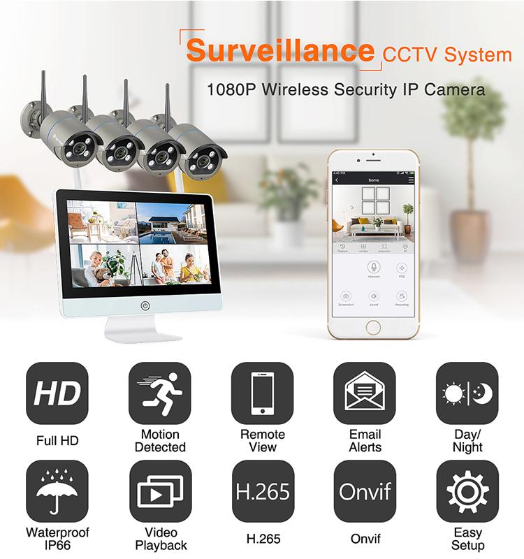 """Водонепроницаемый 8-канальный 12 """"ЖК-монитор Wifi NVR Комплект камеры Eseecloud Remote View Беспроводная двухсторонняя система аудио IP-камеры"""