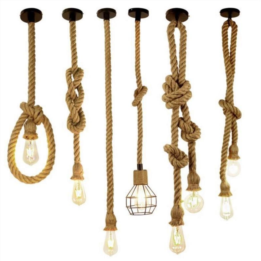 colorful hemp rope mini pendant light DIY kit e26 e27 lamp socket with cable