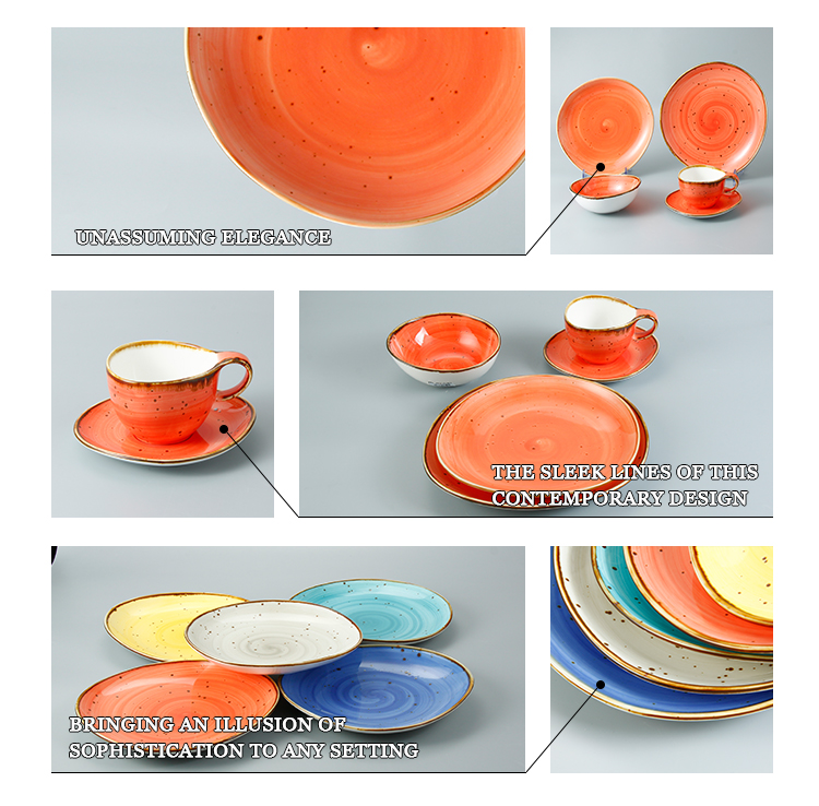 Color glaze ceramic porcelain dinner tableware set stoneware colorful dinnerware sets