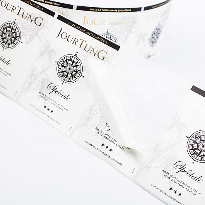 customize wine product pearl film labels etiquetas adhesivas logo embossing foil gold hot stamping stickers