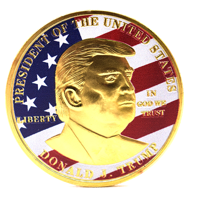 High quality custom silver golden plated 2020 donald trump gold coin to buy