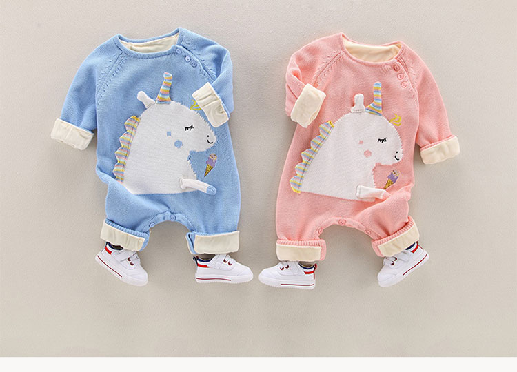 Baby Cartoon unicorn Jumpsuit Toddler Sweater Clothes Knitted Baby Romper
