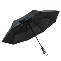 Gentle Automatic 3 Fold Umbrella Black Compact Umbrellas