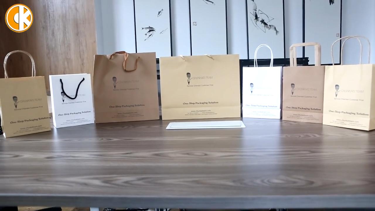 Ecofriendly reciclado impressão Personalizada Saco de cor e tamanho do saco de Papel Marrom Kraft Takeaway