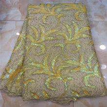 5 ярдов мягкий лук Элегантный Африканский Французский кружево ткань блестящая Свадьба Нигерия Гана праздничное платье с блестками(Китай)